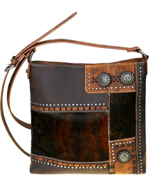 Trinity Ranch Women's Coffee Hair-On Concealed Carry Crossbody Bag , Dark Brown, hi-res