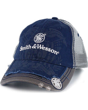 Smith & Wesson Men's Distressed Logo Ball Cap, Blue, hi-res