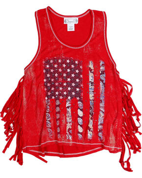 Shyanne Toddler Girls' Americana Fringe Tank , Red, hi-res