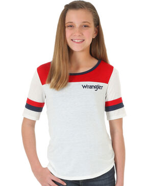 Wrangler Girls' Quarter Sleeve Block T-Shirt , Red/white/blue, hi-res