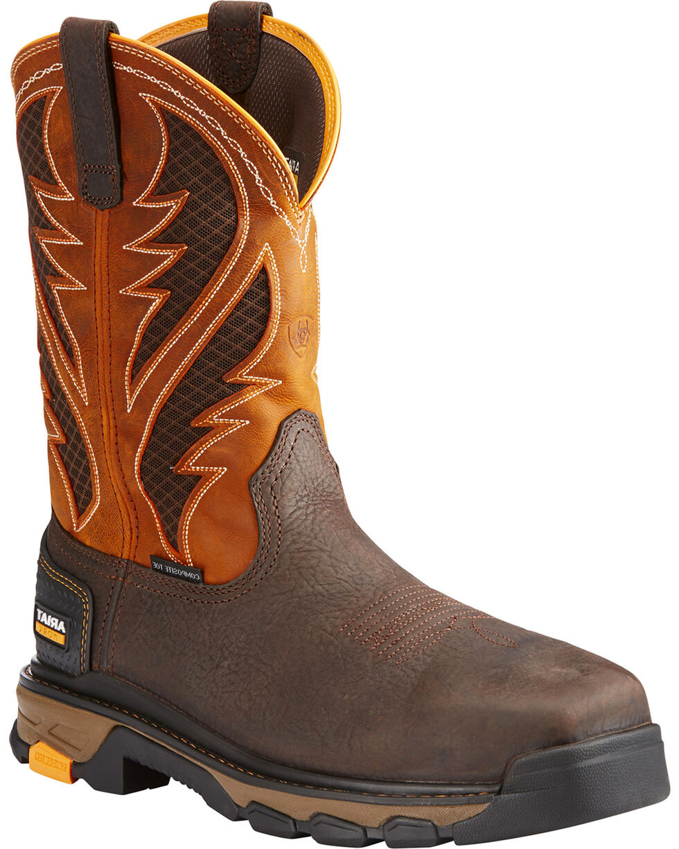 Ariat Men's Orange Intrepid VentTEK Work Boots - Composite Toe , Brown, hi-res