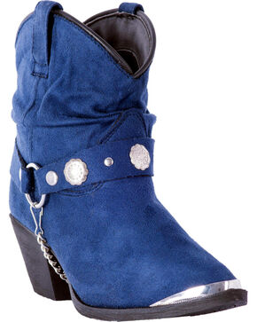 Dingo Women's Navy Fiona Buckle Short Boots - Pointed Toe , Navy, hi-res