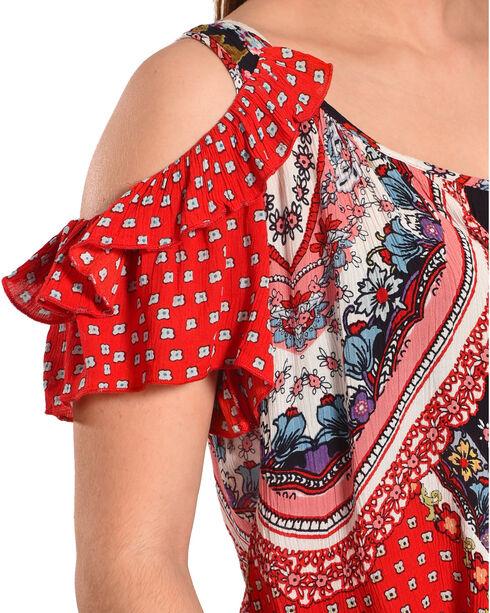 Bila Women's Red Cold Shoulder Crinkle Blouse , Red, hi-res