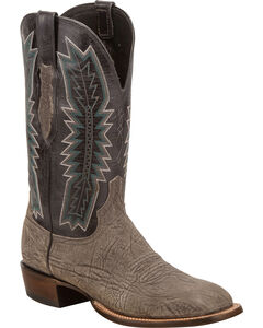 Lucchese Men's Hunter Charcoal/Black Sueded Sheep Horseman Western Boots - Square Toe, Grey, hi-res
