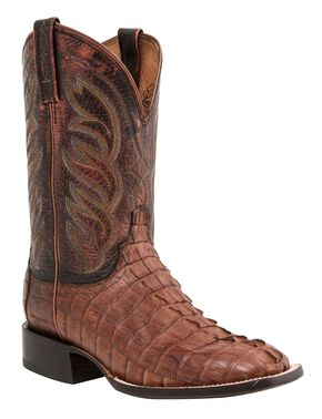 Lucchese 1883 Handmade Landon Hornback Caiman Tail Cowboy Boots - Square Toe, Tan, hi-res