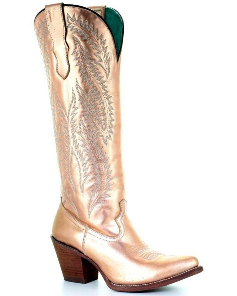 e7a8bf91 Zoomed Image Corral Women's Gold Embroidery Tall Top Cowgirl Boots -  Pointed Toe , Gold, hi-
