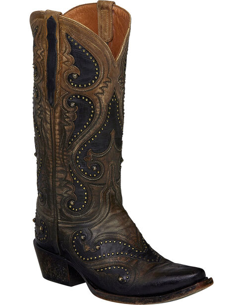 Lucchese Pearl Ombre Gemma Cowgirl Boots - Snip Toe , Light Brown, hi-res