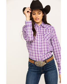 As Real As Wrangler Women's Purple Snap Long Sleeve Western Shirt , Purple, hi-res
