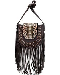 Montana West Women's Aztec Fringe Crossbody Bag, Coffee, hi-res