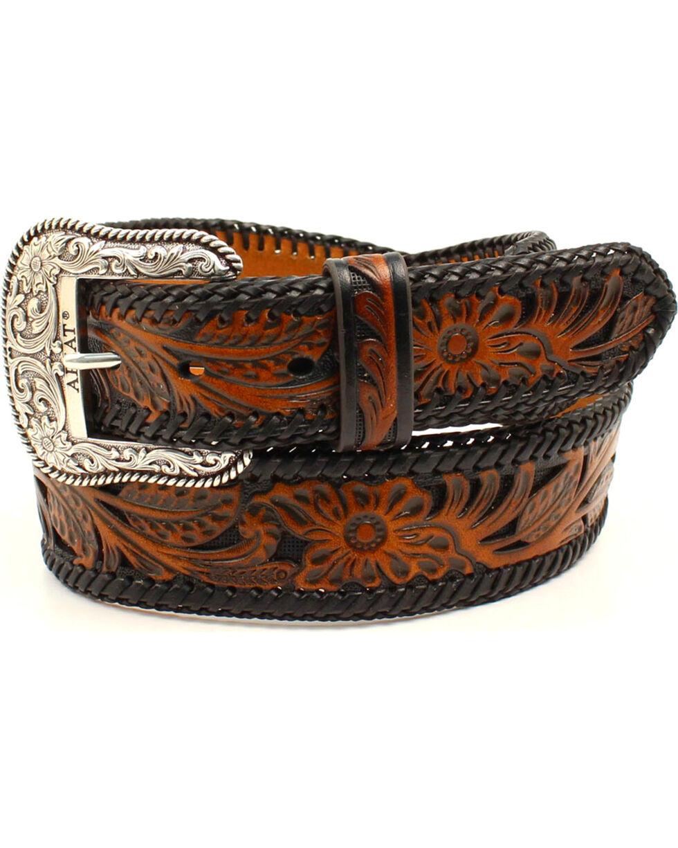 Ariat Men's Genuine Leather Embossed Floral Belt, Black, hi-res