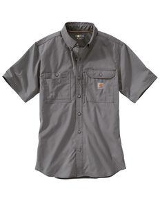 Carhartt Men's Solid Force Ridgefield Short Sleeve Work Shirt, Charcoal Grey, hi-res