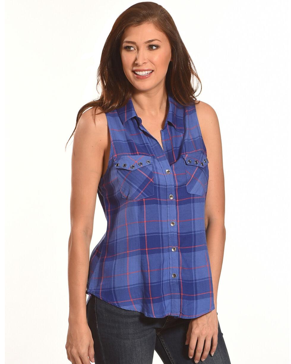 Shyanne Women's Plaid Sleeveless Shirt, Blue, hi-res