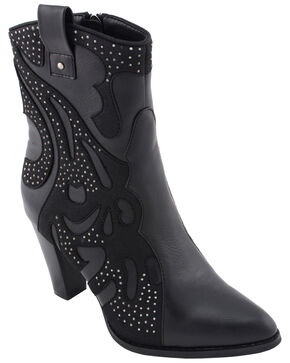 Milwaukee Leather Women's Studded Overlay Western Boots - Pointed Toe, Black, hi-res