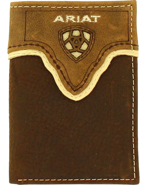 Ariat Men's Tri-fold Leather Overlay Wallet , Medium Brown, hi-res