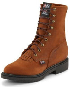"Justin Men's Conductor 8"" Lace-Up Work Boots - Soft Toe, Bark, hi-res"