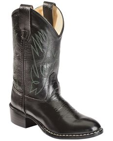 Old West Boys' Black Western Boots, Black, hi-res