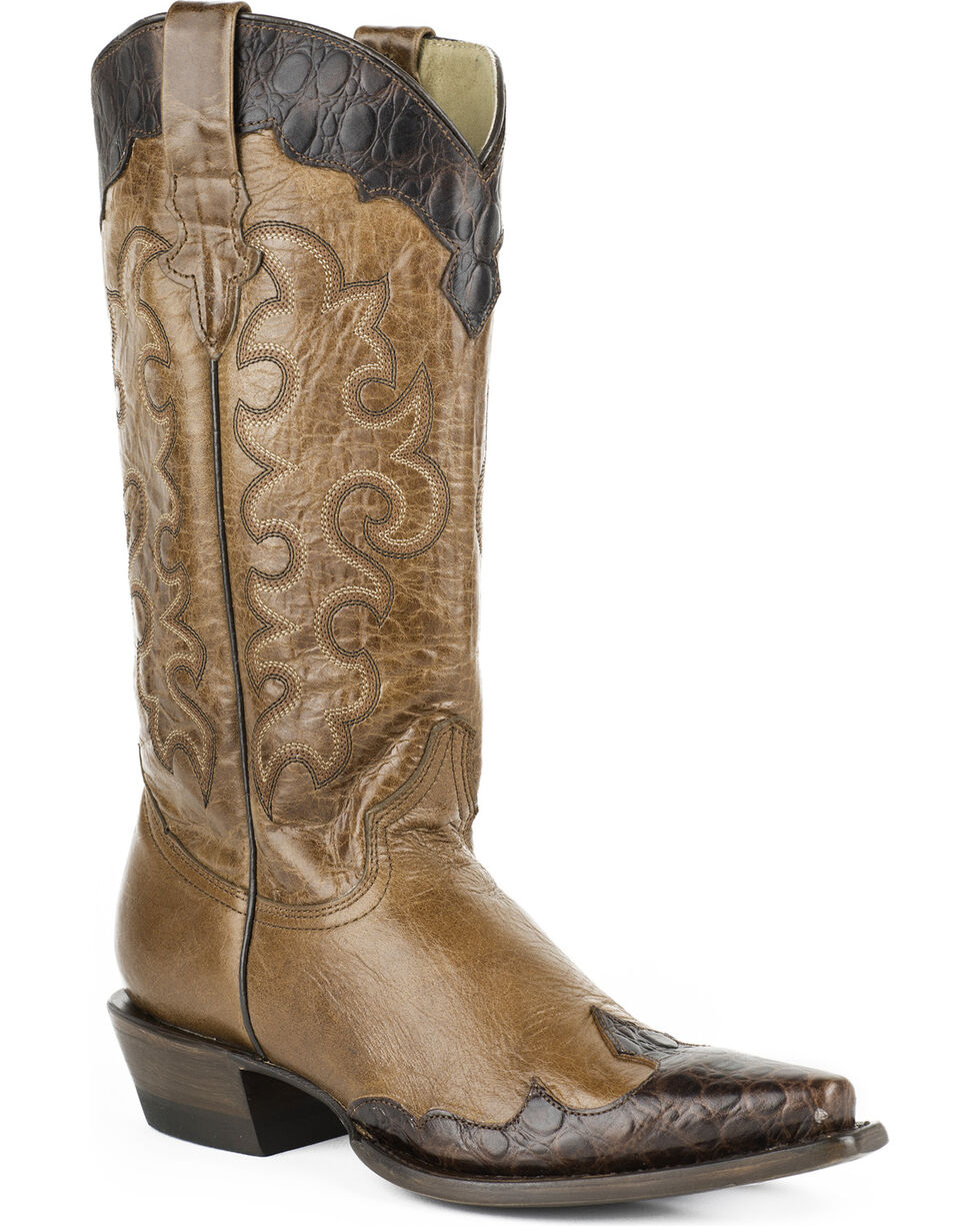Roper Women's Faux Sea Turtle Wingtip Cowgirl Boots - Snip Toe, Brown, hi-res