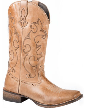 Roper Lindsey Tan Cowgirl Boots - Square Toe, Tan, hi-res