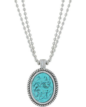 Montana Silversmiths Women's Carved Legacy Turquoise Necklace , Silver, hi-res
