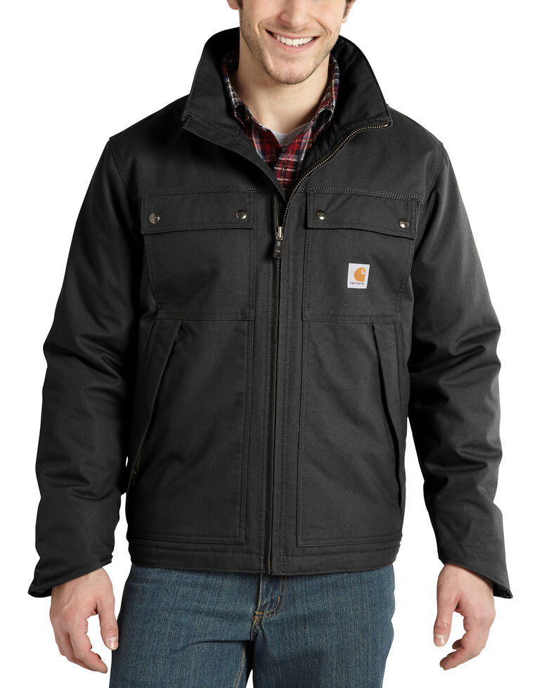 Carhartt Men's Quick Duck Jefferson Traditional Work Jacket - Big & Tall, Black, hi-res