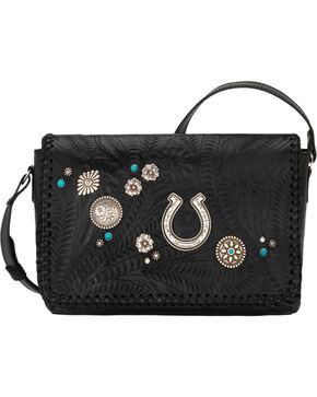 American West Women's Lariat Love Crossbody Bag/Wallet, Black, hi-res
