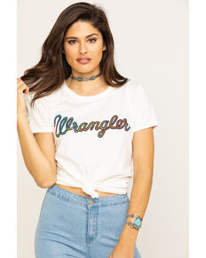 Wrangler Women's Rainbow Logo Graphic Tee, White, hi-res