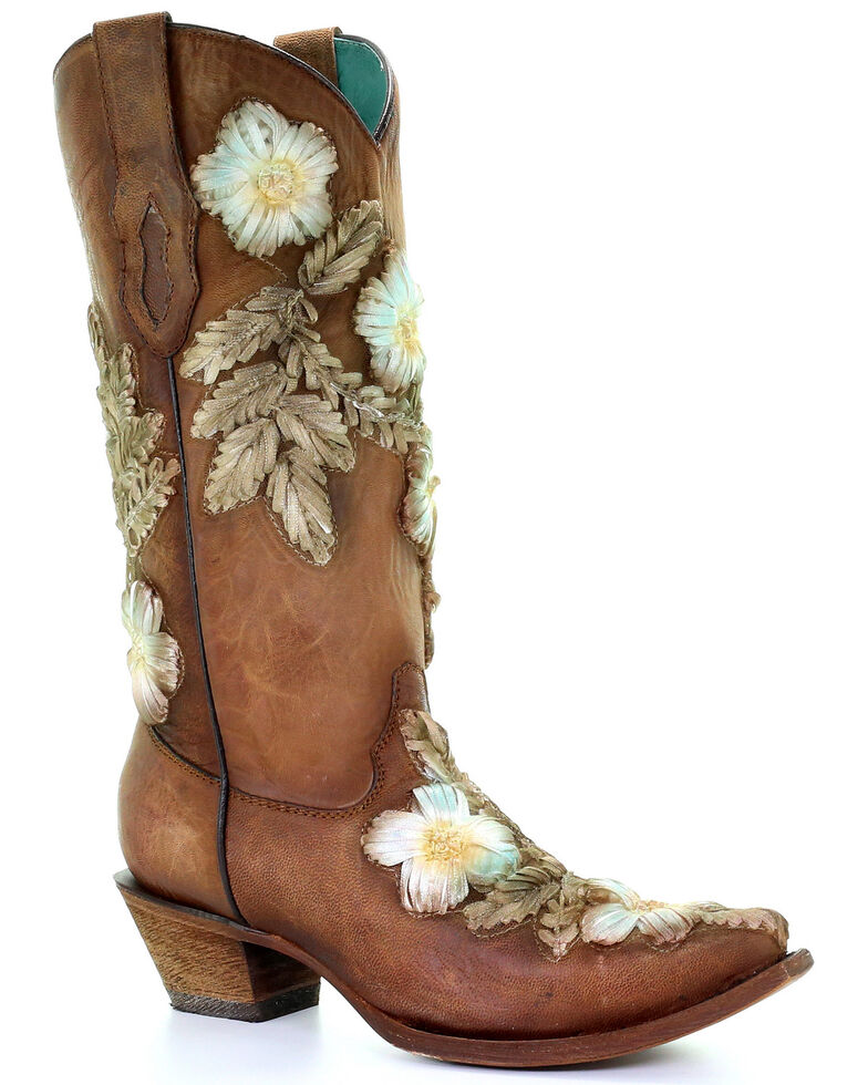 Corral Women's Tobacco Hand Printed Floral Western Boots - Snip Toe, Brown, hi-res