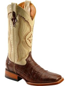 Ferrini Chocolate Caiman Belly Cowboy Boots - Wide Square Toe, Chocolate, hi-res