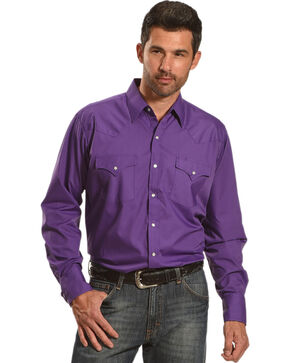 Ely Cattleman Men's Purple Button Up Long Sleeve Shirt , Purple, hi-res