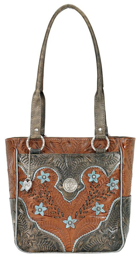 American West Desert Flower Zip Top Tote, Tan, hi-res