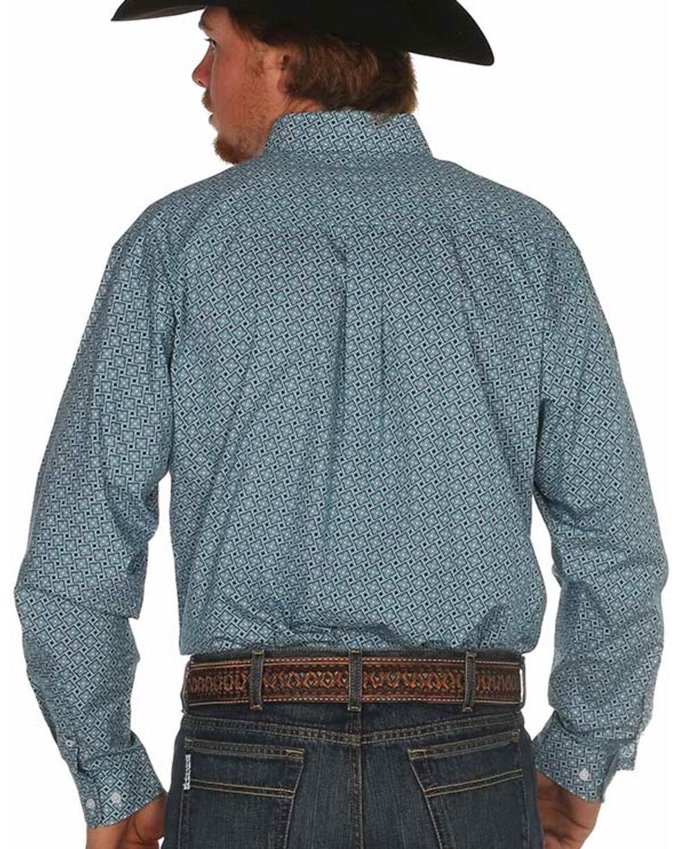 Cinch Men's Teal Box Print Long Sleeve Western Shirt, Teal, hi-res
