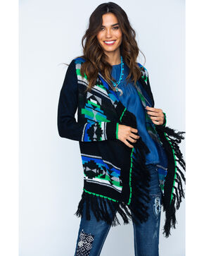 Powder River Women's Fringe Aztec Cardigan, Black, hi-res