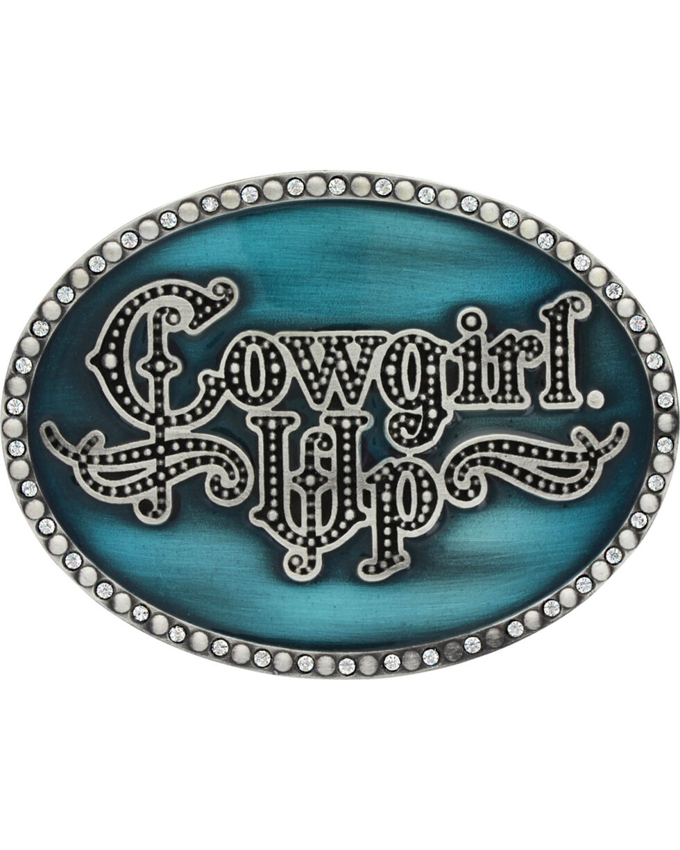 Montana Silversmiths Women's Little Attitude Turquoise Cowgirl Up Buckle, Silver, hi-res