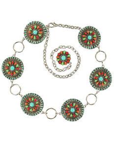 Nocona Colorful Concho Chain Belt, Multi, hi-res