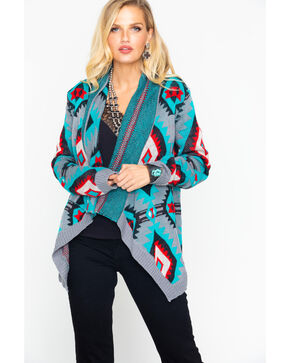 Rock & Roll Cowgirl Women's Aztec Cardigan, Teal, hi-res