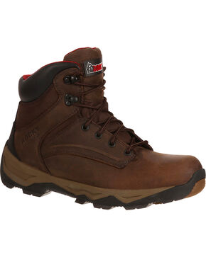 "Rocky Men's Brown Retraction Waterproof 6"" Work Boots  , Brown, hi-res"