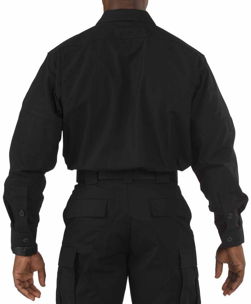 5.11 Tactical Men's Solid Taclite TDU Long Sleeve Work Shirt, Black, hi-res