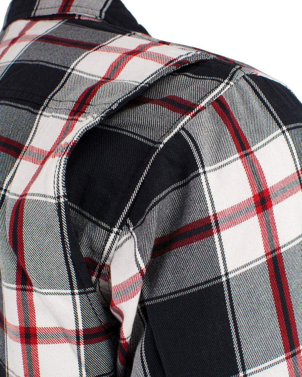 Milwaukee Performance Men's Aramid Reinforced Plaid Flannel Biker Shirt - 5X, Black/red, hi-res