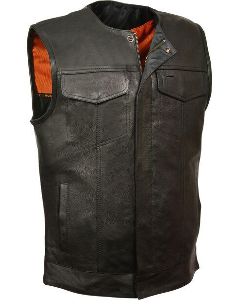 Milwaukee Leather Men's Black Collarless Club Vest , Black, hi-res