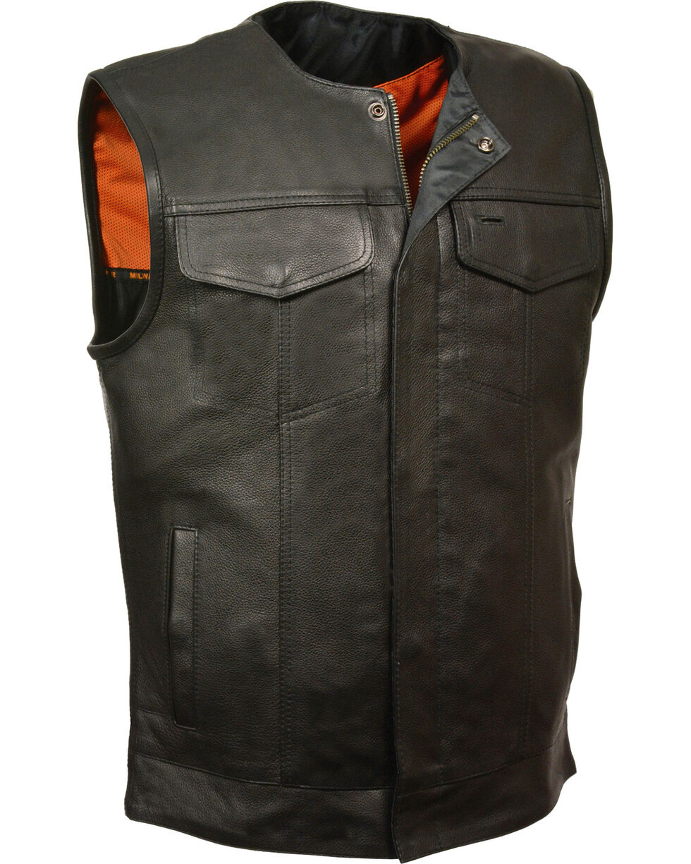 Milwaukee Leather Men's Black Collarless Club Style Vest , Black, hi-res