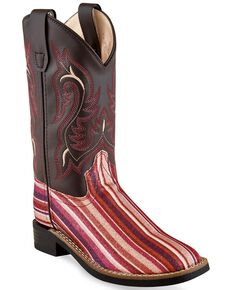 Old West Girls' Pink Serape Glitter Striped Western Boots - Square Toe, Brown, hi-res