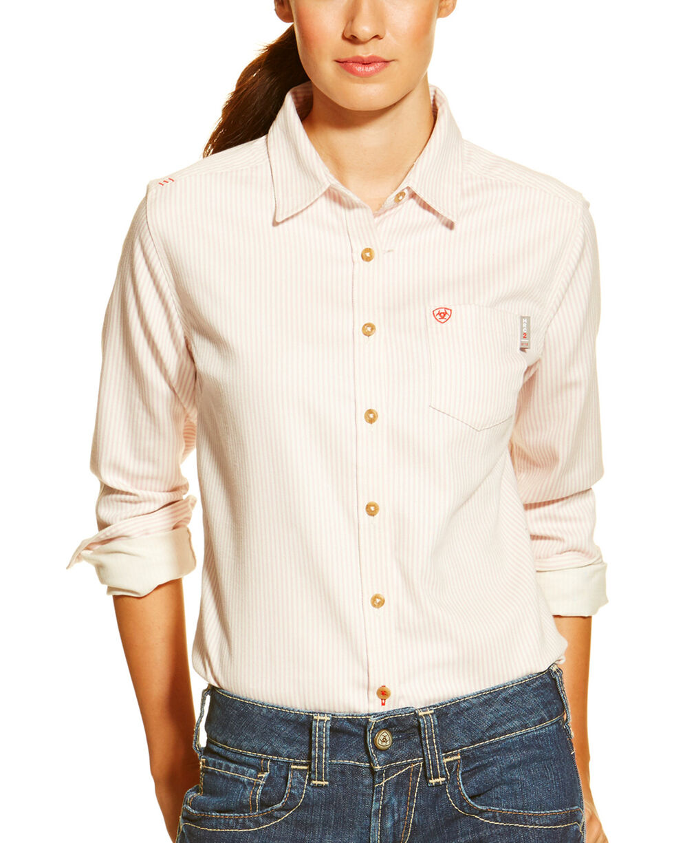 Ariat Women's Fire-Resistant Stripe Long Sleeve Work Shirt, Pink Stripe, hi-res