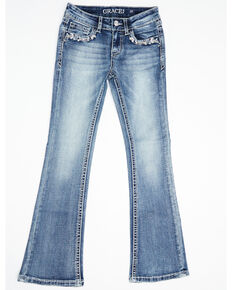 Grace in LA Girls' Medium Wash Faux Flap Vine Bootcut Jeans  , Blue, hi-res