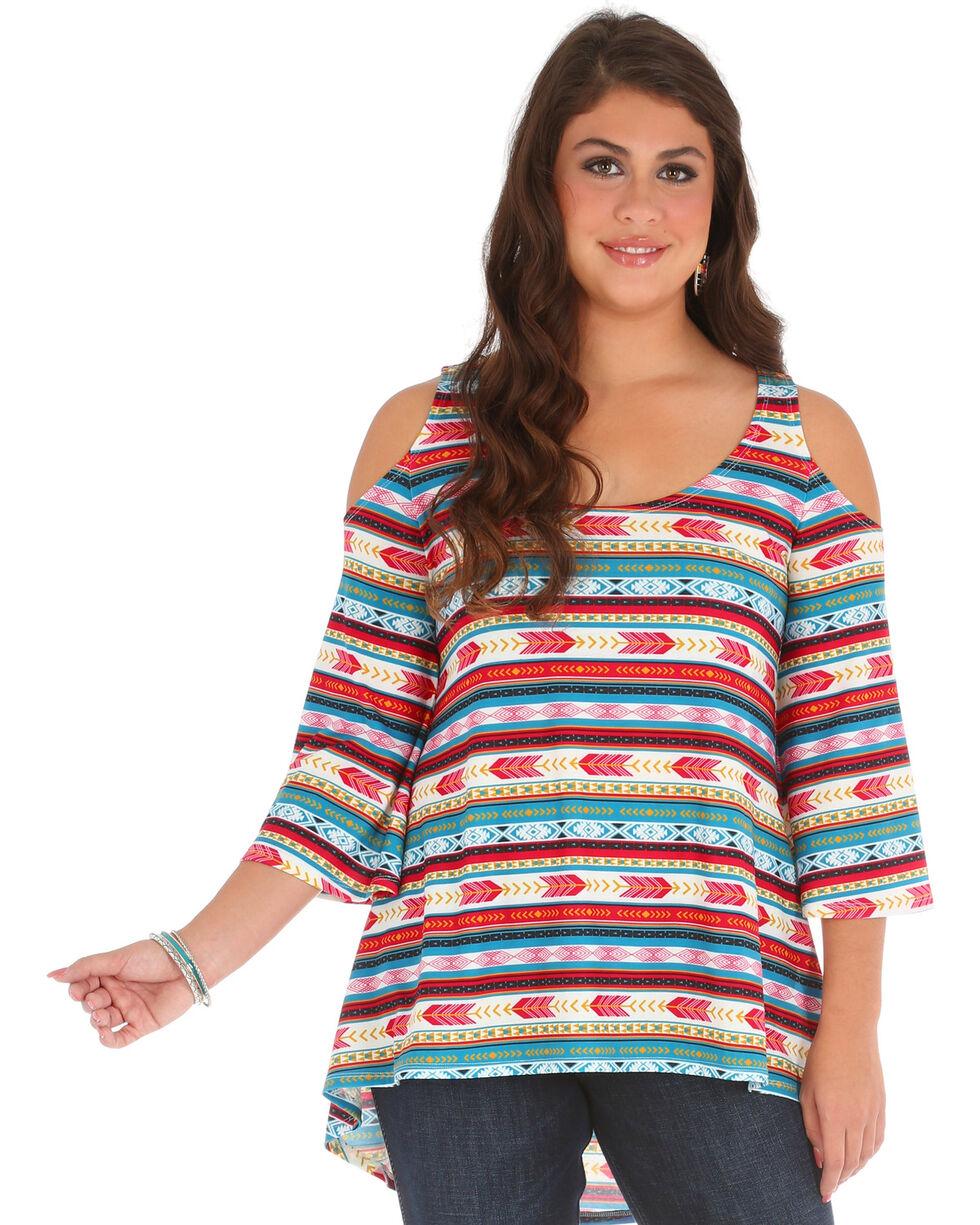 Wrangler Women's Cold Shoulder Hi Lo Aztec Print Tunic, Medium Red, hi-res