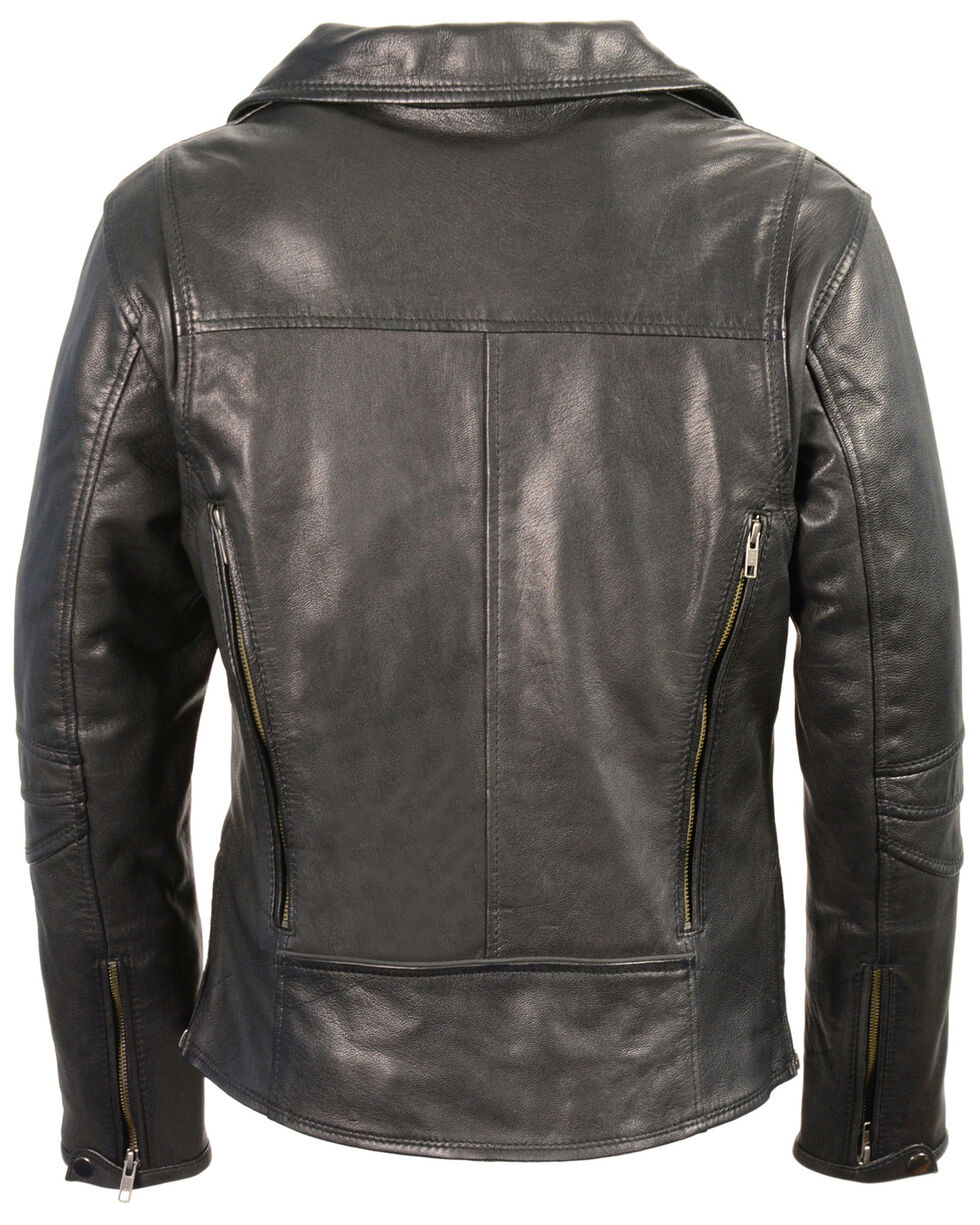 Milwaukee Leather Women's Lightweight Long Length Vented Biker Jacket - 5X, Black, hi-res