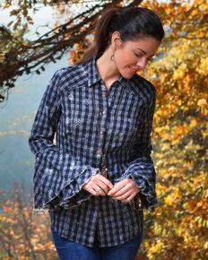 Ryan Michael Women's Native Print Tiered Sleeve Top, Indigo, hi-res