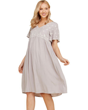 Polagram Women's Embroidered Short Sleeve Dress, Grey, hi-res