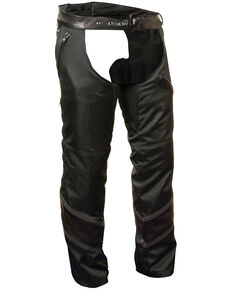 Milwaukee Leather Men's Leather Trim Snap Out Liner Vented Textile Chaps - 4XL, Black, hi-res