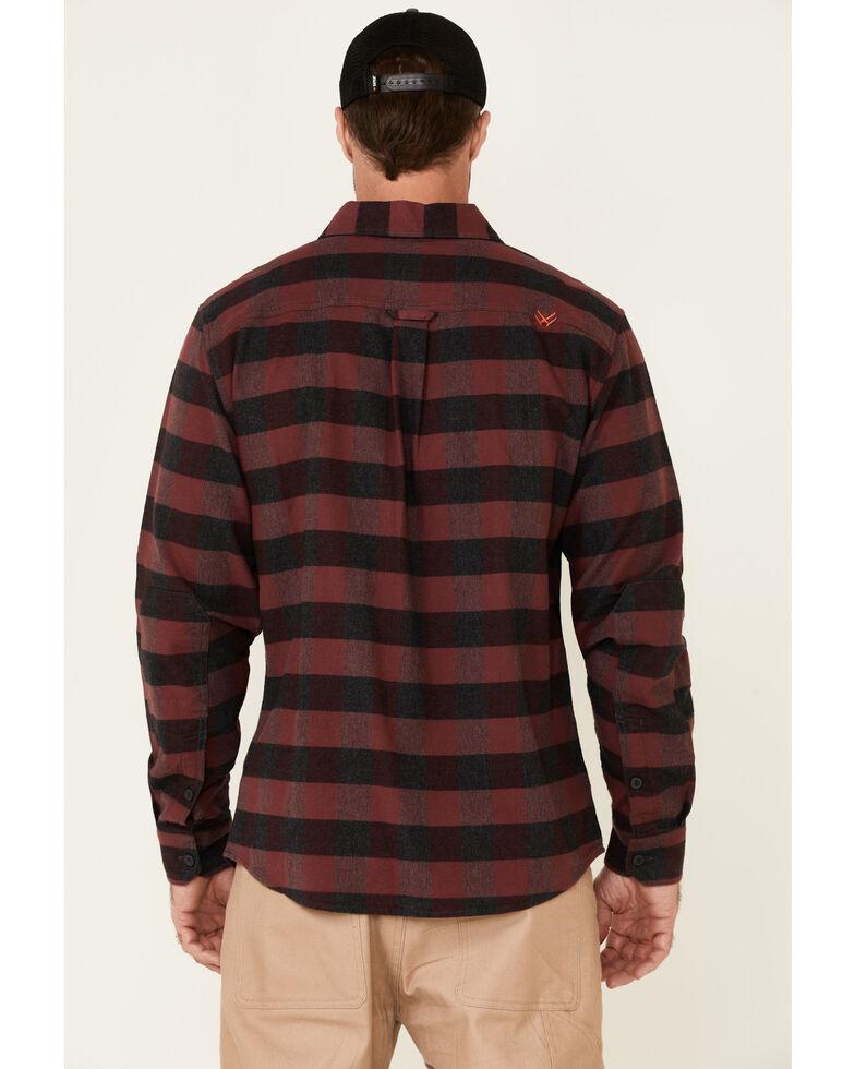 Hawx Men's Dark Red Harris Stretch Plaid Flannel Long Sleeve Button-down Work Shirt, Dark Red, hi-res