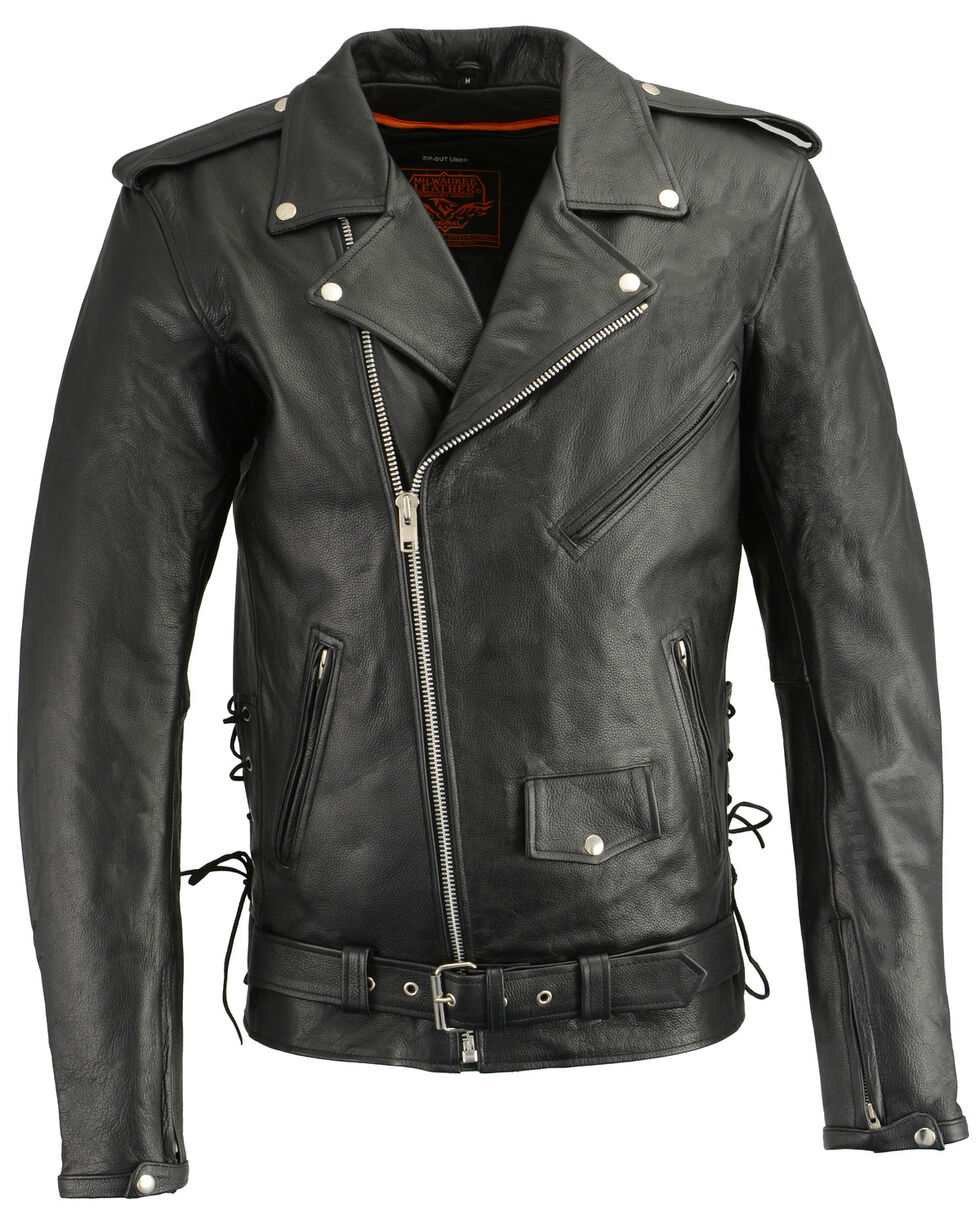 Milwaukee Leather Men's Classic Side Lace Concealed Carry Motorcycle Jacket - 5XTall, Black, hi-res